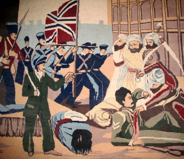 Antique tapestry depicting battle between Baluch and British Forces, Governor's mansion, Quetta, Pakistan