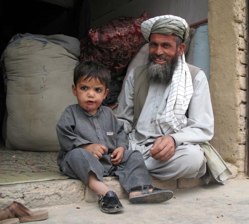 Grandfather and child, Pakistan-Afghan border
