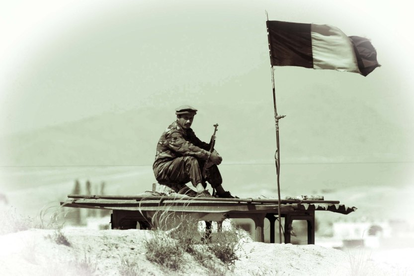 Afghan soldier manning checkpoint, Gardez, 04