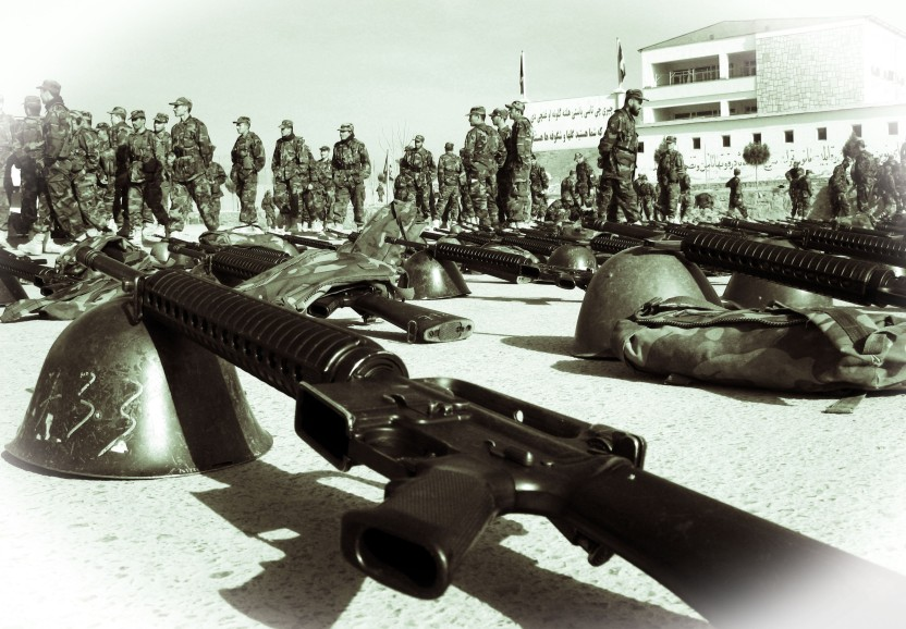 M16s for Afghan Army recruits, KMTC, Kabul, 09
